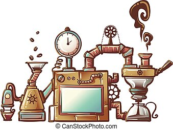 Steampunk Coffee Maker - Steampunk Illustration of an...