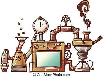 Steampunk Coffee Maker - Steampunk Illustration of an ...