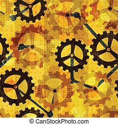 steampunk, cogwheel, grunge, seamless