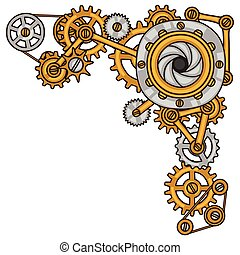 steampunk, colagem, de, metal, engrenagens, em, doodle,...