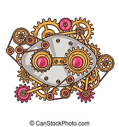 steampunk, collage, de, metal, engranajes, en, garabato,...