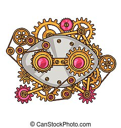 Steampunk collage of metal gears in doodle style.
