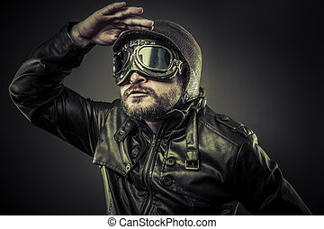 Steampunk concept, pilot vintage with big glasses
