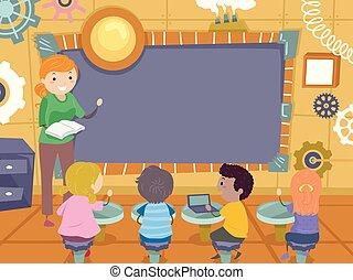 steampunk, crianças, stickman, tábua, ilustração