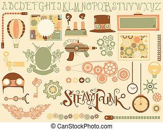 steampunk, elementy, projektować, ilustracja