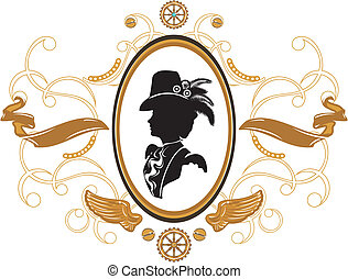 steampunk, estilo, quadro