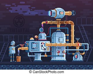 Steampunk fantastic intricate industrial machine with pipes and robot