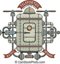 Steampunk fantastic machine for teleportation