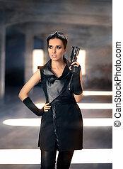Steampunk Female Warrior with Gun - Portrait of a cool...