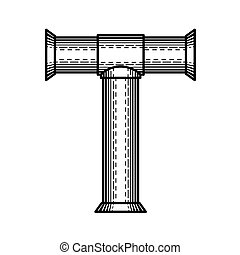 Steampunk Letter T On White Background 3d Illustration