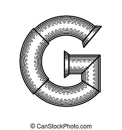 Steampunk font - Pipe letter G made in style of engraving.