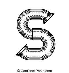 Steampunk font - Pipe letter S made ??in the style of ...