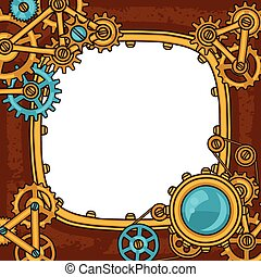 Steampunk frame collage of metal gears in doodle style.