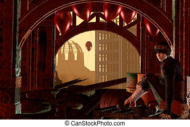 Steampunk futuristic landscape with red balloon and girl.