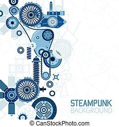steampunk, futuristico, fondo