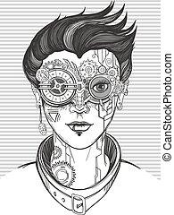 steampunk girl illustration - steampunk girl, monochrome...