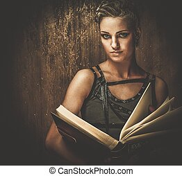 Steampunk girl with a book