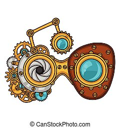 Steampunk glasses collage of metal gears in doodle style.