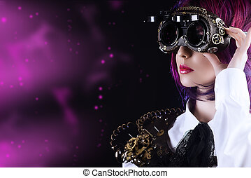 Girl in a stylized steampunk costume posing on a black background. Anime.