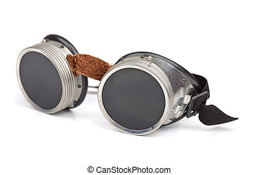 Steampunk goggles isolated on white