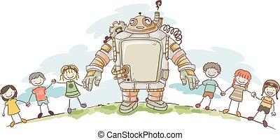 steampunk, gosses, stickman, robot, mains
