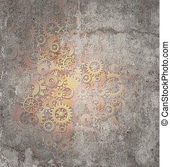 Steampunk Grunge Background - Steampunk grunge background as...