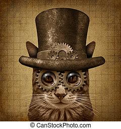 Steampunk Grunge Cat - Steampunk and steam punk grunge cat...