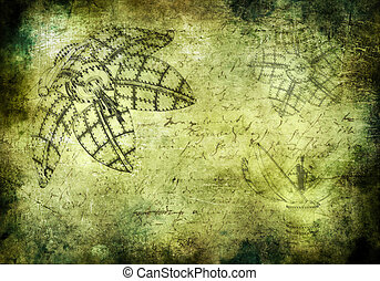 Old grunged background in steampunk style