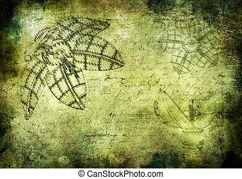 Steampunk grunged background - Old grunged background in...
