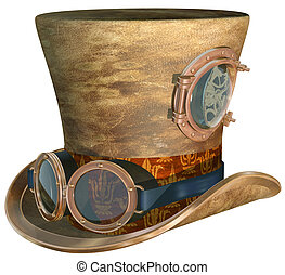Steampunk Hat and Goggles - Isolated illustration of a...