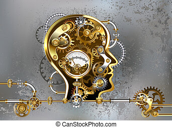 Steampunk head with manometer - Conceptual, mechanical,...