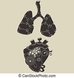 steampunk heart and lungs