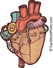 Steampunk Heart - Steampunk Illustration of a Heart Made of...