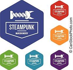 steampunk, hexahedron, vettore, macchinario, icone