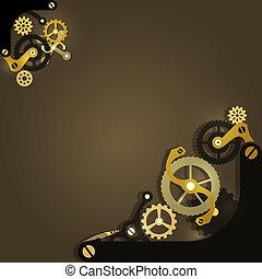 steampunk, hintergrund, mechanisch