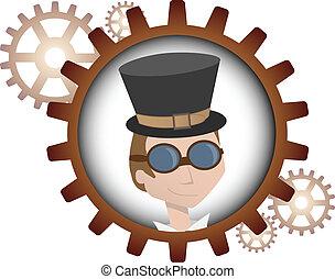 steampunk, hombre, caricatura, joven, insi