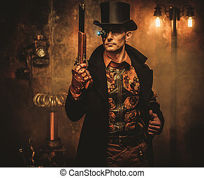 steampunk, homme, fusil, fond, vendange