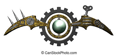 steampunk installation - abstract industrial symbol on white...