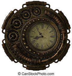 steampunk, klocka, cg, 3
