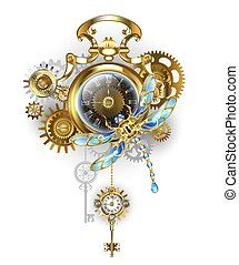 steampunk, klok, libel, mechanisch