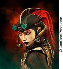 Steampunk Lady - portrait of a girl in steampunk style