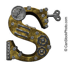 steampunk letter s on white background - 3d illustration