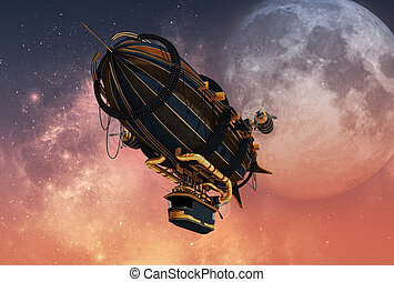 steampunk, luchtschip, cg, 3d