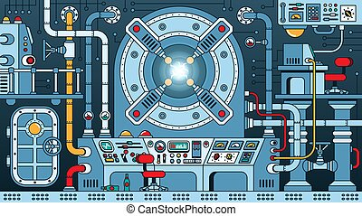 Steampunk machine - fantastic nuclear reactor. Energy device control room