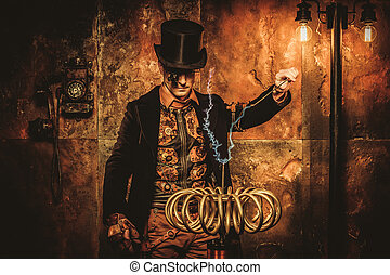 Steampunk man with Tesla coil on vintage steampunk ...