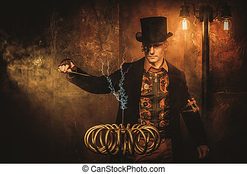Steampunk man with Tesla coil on vintage steampunk...
