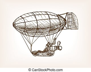 Steampunk mechanical flying airship sketch vector -...