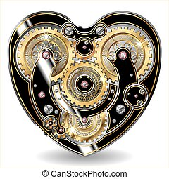 steampunk mechanical heart - vector illustration of a ...