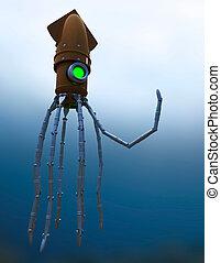 Steampunk Mechanical Squid Under Water - Steampunk ...