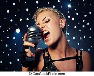 steampunk, menina, cantando, atraente